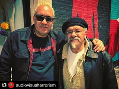 #Repost @audiovisualterrorism (@get_repost) ・・・ 'All Roads Lead To The Fire Escape' director @vgbnd with original #Nuyorican #Poet @jesuspapoleto in front of the #DosAlasMural (which vagabond also designed and help paint) in #ElBarrio #NYC after a day of