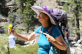 0097 Vicki tries out our new hot-hiking experiment - a water sprayer to keep her cool in the sun | by _JFR_