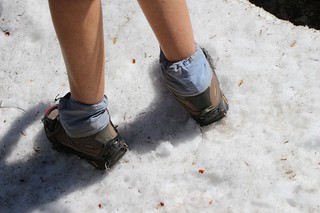 0131 Vicki wearing her Micro-Spikes - they seemed OK but maybe next year we'd try them on a bit more snow | by _JFR_