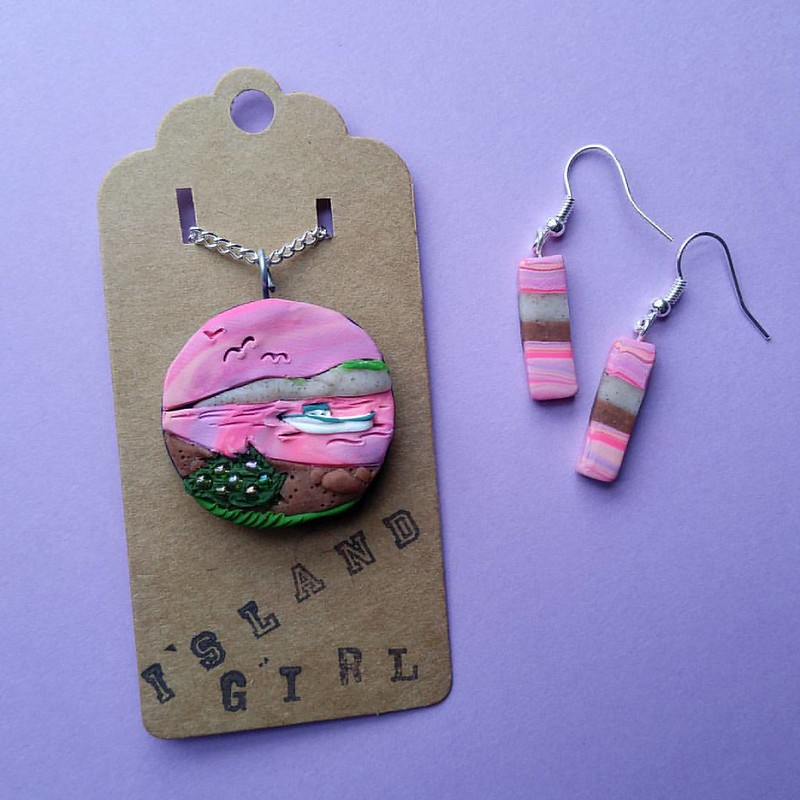 'Sunset Beach' pendant and earrings that will be heading to @northshorepei made with PEI dune sand and Red dirt