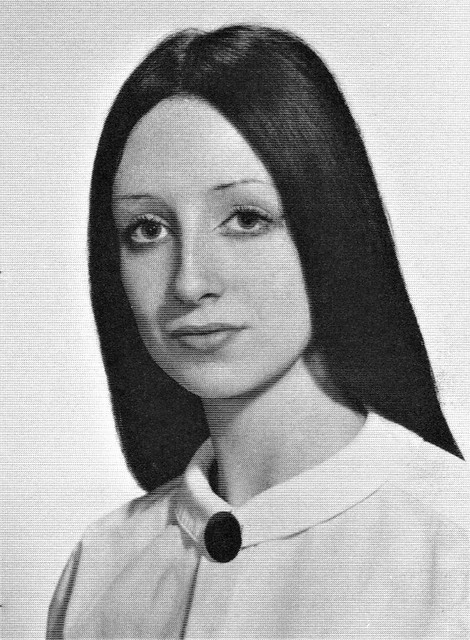 Gwynedd Mercy popular student hair style flat, long and parted down the middle 1971