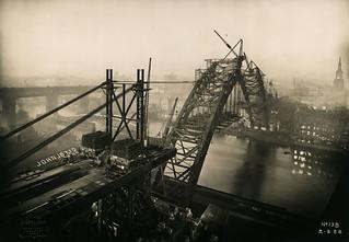 The new bridge rises over the River Tyne