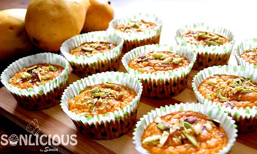 Mango semolina muffins to serve