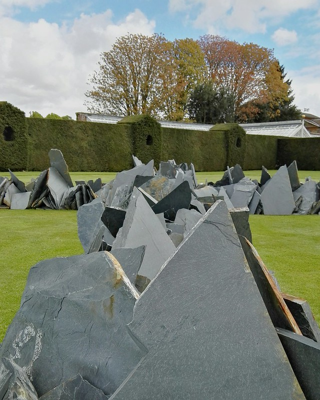 Richard Long's sculpture in the walled garden at Houghton Hall's EARTH SKY exhibition