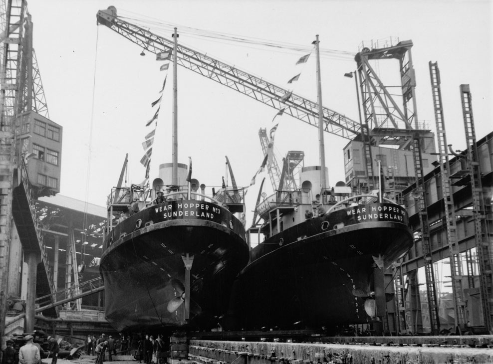 Preparing for the launch of two Wear hopper barges