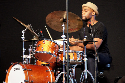 Jason Marsalis's drummer in the Jazz Tent on Day 5 of Jazz Fest - May 5, 2017. Photo by Bill Sasser.