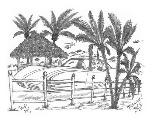 sketch bw scifi alien concept custom car retro space hotrod drawing pencil h2 hb original story fantasy funny automotive art illistration greyscale moonpies beatles