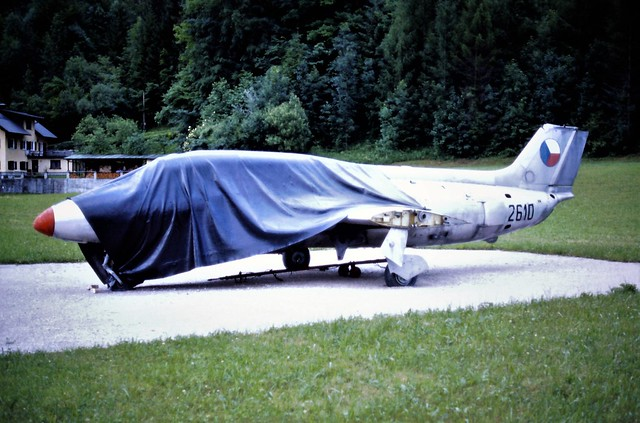L-29R Delfin 2610 c/n 792610 ex Czech and Slovak Air Force. Stored, Bad Ischl, Austria. 20-06-1997.