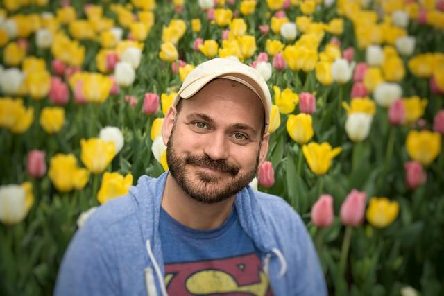Sourire et tulipes