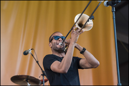 Trombone Shorty during Jazz Fest day 7 on May 7, 2017. Photo by Ryan Hodgson-Rigsbee www.rhrphoto.com