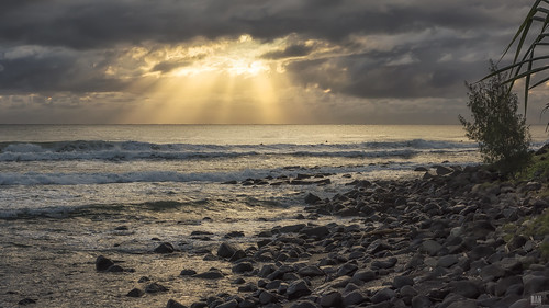 sea ocean crepuscularrays sunlight dawn sunrise daybreak rocks trees burleighheads d810 park waves surfers