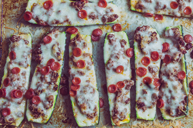 Low Carb Zucchini Pizza Boats