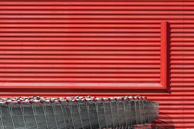 Red schopping trolleys