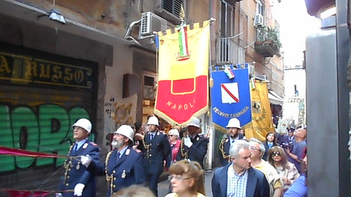 Embroidered banners at procession of silver reliquary-busts of the Saints in Naples (May 6, 2017)