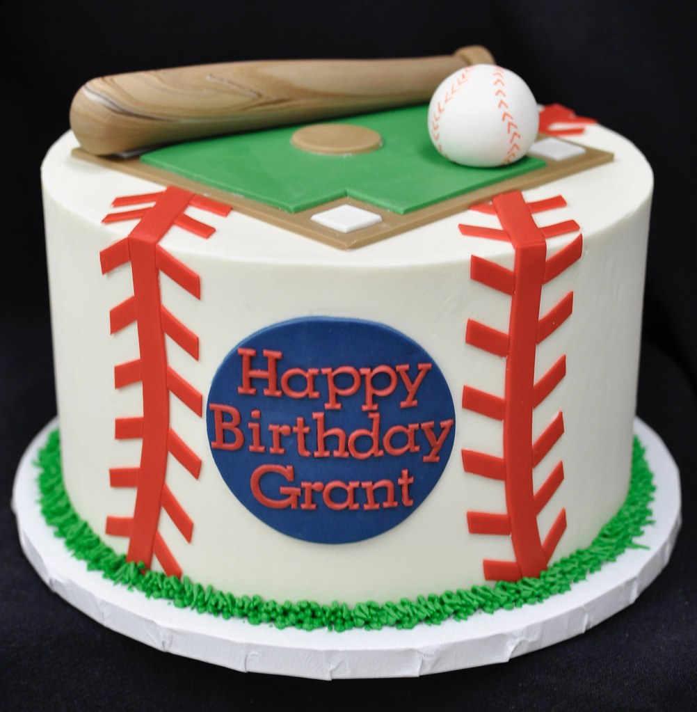 Phenomenal Baseball Themed Birthday Cake Jenny Wenny Flickr Funny Birthday Cards Online Fluifree Goldxyz