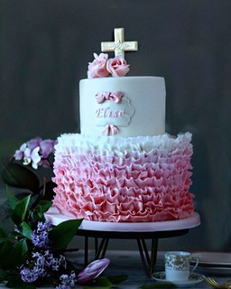 Frills and feminine details on this sweet communion cake! Congratulations to lovely Elise; Its an honor that my cakes have been a part of important celebrations in her life.                        - - #communioncake #pink #frills #rufflecake #madeinchicag | by babushka bakery
