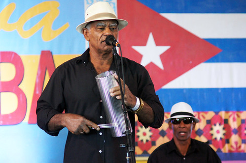 Changüí Guantánamo in the Cuban Cultural Exchange Pavilion on Day 5 of Jazz Fest. May 5, 2017. Photo by Bill Sasser.