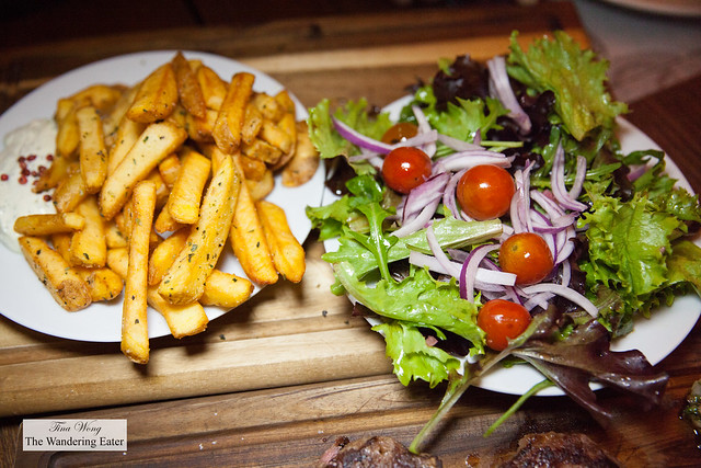Side of fries and salad for the Atalho platter