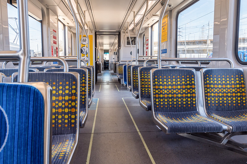 Interior of new Kinkisharyo P3010 light rail vehicle.