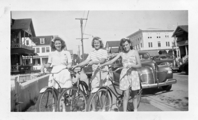 Girls with Bikes in Town, 1944