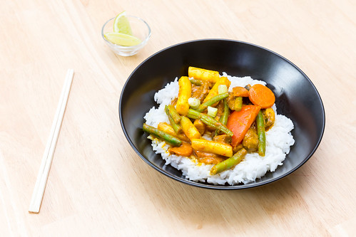 Vegetarian Thai Curry with Vegetables and Rice | by wuestenigel