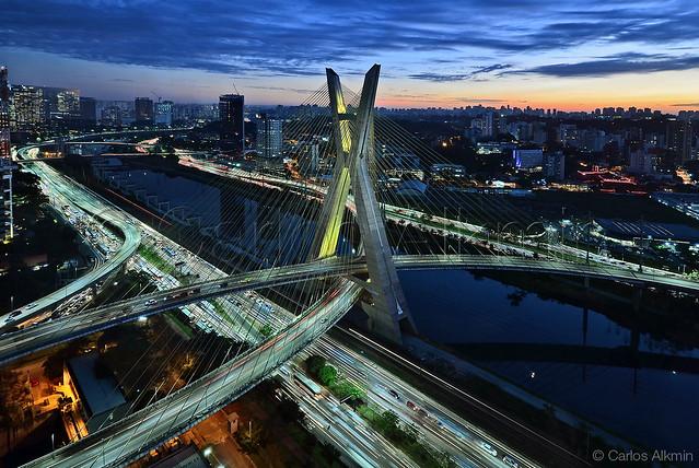 Sao Paulo Modern Skyline - Ponte Octavio Frias de Oliveira and its surroundings - Sao Paulo, Brazil