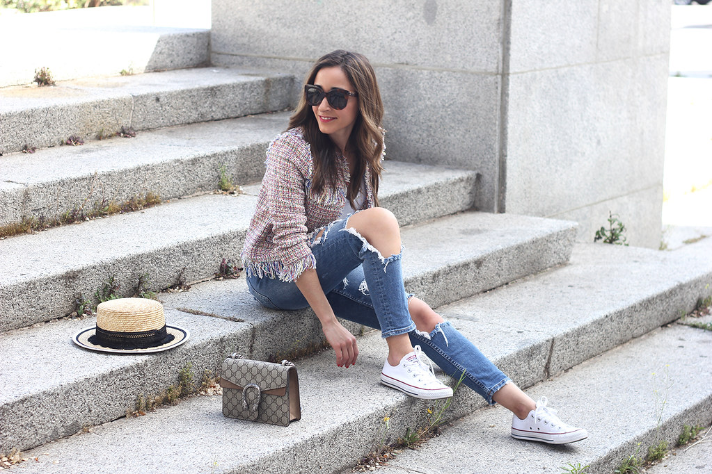 b8370aa0319e49 ... Tweed Jacket ripped jeans converse sneakers gucci bag spring outfit  style01