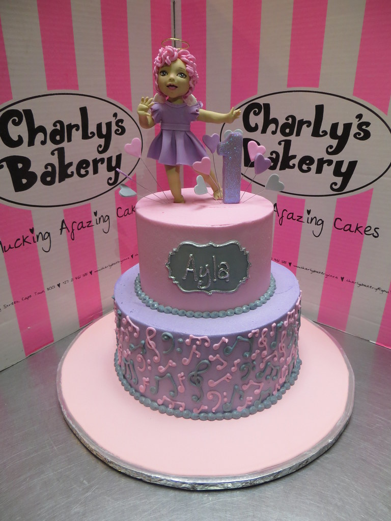 Pleasant 2 Tier 1St Birthday Cake With 3D Personalised Dancing Ange Flickr Personalised Birthday Cards Cominlily Jamesorg