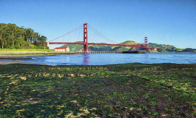 Golden Gate Bridge at Low Tide (painted)