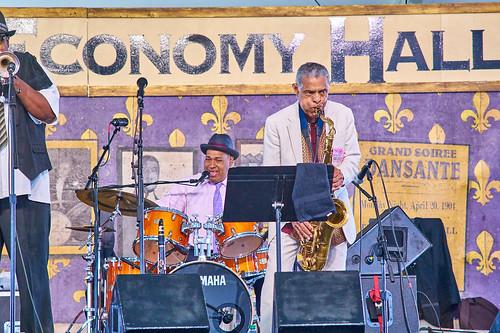 Charlie Gabriel & Friends on Day 4 of Jazz Fest 2017 - May 4. Photo by Eli Mergel.