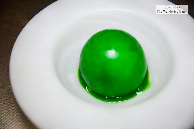 Dessert -Lemon-lime ice globe filled with yuzu mousse