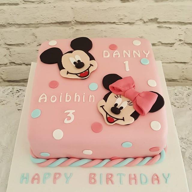 Prime Mickey Minnie Birthday Cake For Brother And Sister Bir Flickr Personalised Birthday Cards Veneteletsinfo