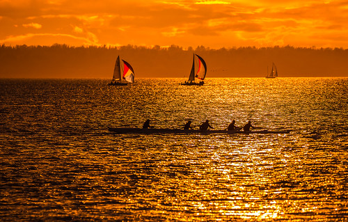 outrigger canoe bellingham wa washingtonstate whatcomcounty boulevardpark essenceofbellingham orange goldenhour