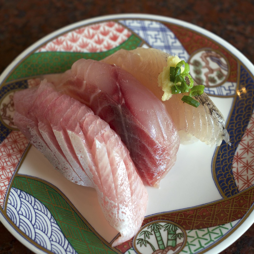 Sushi of yellowtail amberjack, chicken grunt and flying fi