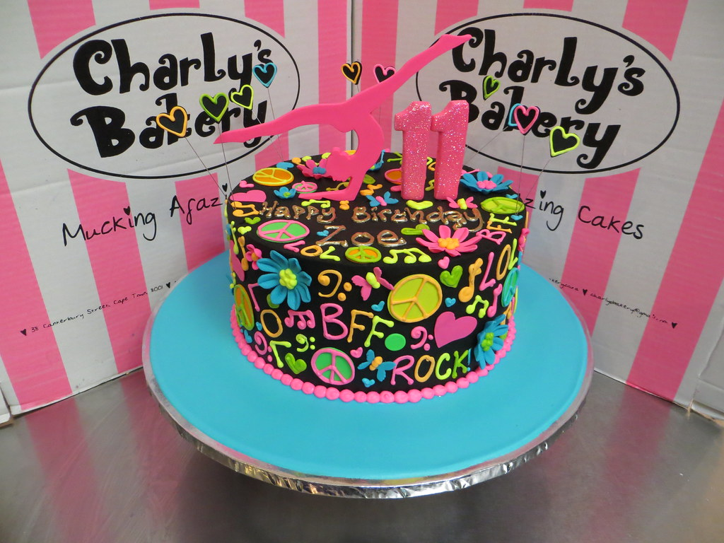 Peachy Gymnastics Hippie Neon Themed 11Th Birthday Cake Iced In Black Personalised Birthday Cards Paralily Jamesorg