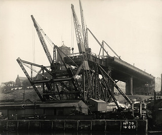 Work on the Tyne Bridge arch underway at Gateshead