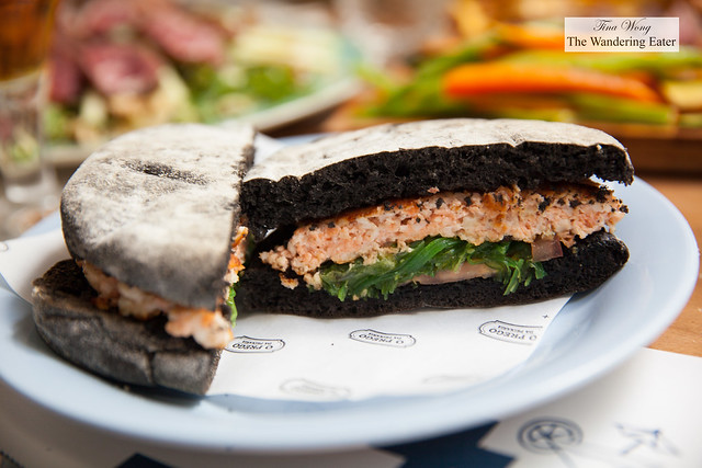 Tuna salad, Salmon & Cuttlefish burger in squid ink bread