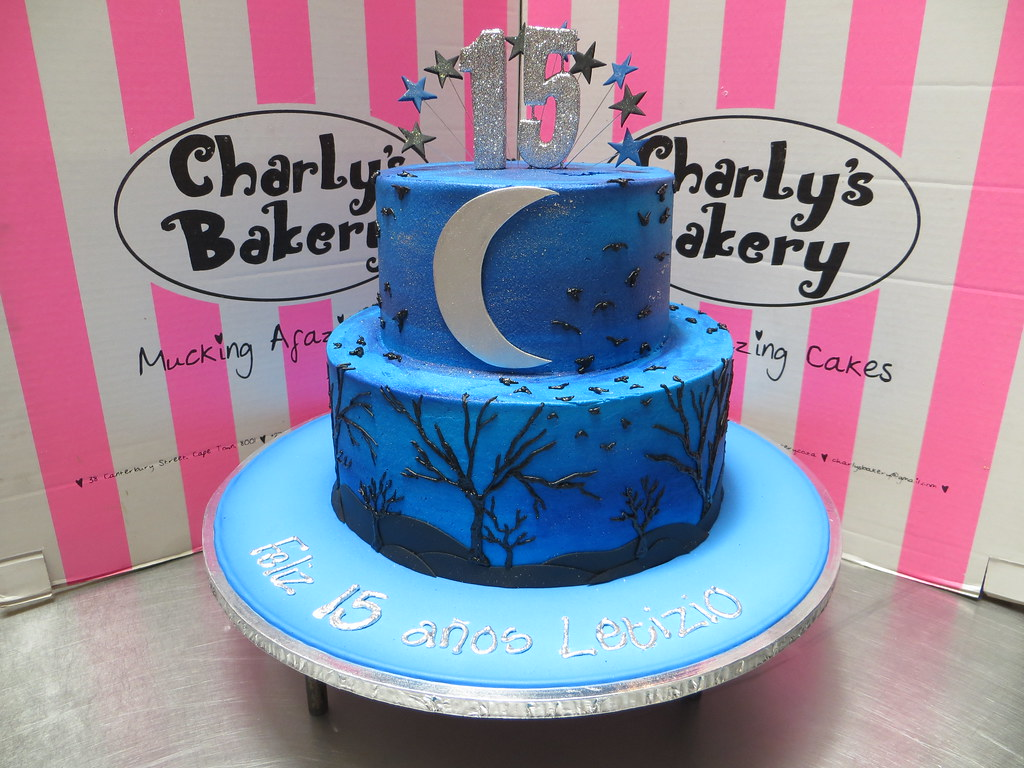 Terrific 2 Tier Quinceanera 15Th Birthday Cake Iced In Swirled Blue Flickr Funny Birthday Cards Online Elaedamsfinfo