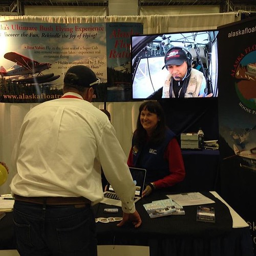 My float flying video on display at an aviation trade show in Alaska. Glad it is coming of some use to the school. Photo by @ibpdanza #avgeek #aviation | by Dalfry