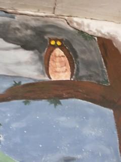Detail sovy na malbě, kterou vytvořili moji spolužáci (Daniel Lojda, Daniela Vaverková)