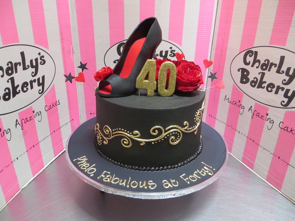 Peachy Single Tier 40Th Birthday Cake Iced In Black Chocolate Gan Flickr Funny Birthday Cards Online Elaedamsfinfo