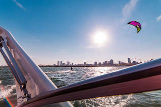 Kite Surfing Along Milwaukee Skyline | by Vincent Buckley