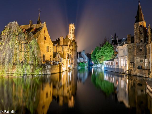 Brugge (Bruges) in Belgium - Rozenhoedkaai at night