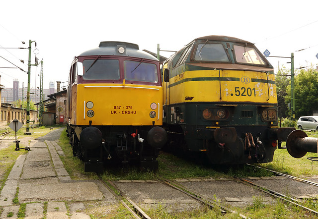 ex UK 47 375 & ex SNCB 5201 at Budapest Keleti Depot on 2nd May 2017 (during official visit)