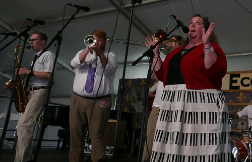 Doyle Cooper Jazz Band wsg Leslie Cooper in Economy Hall Tent on Day 4 of Jazz Fest - May 4, 2017. Photo by Black Mold.