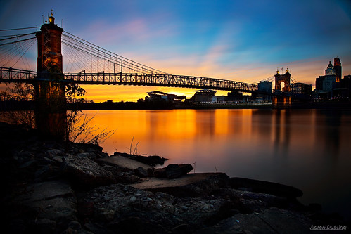 cincinnati johnaroeblingsuspensionbridge sunset