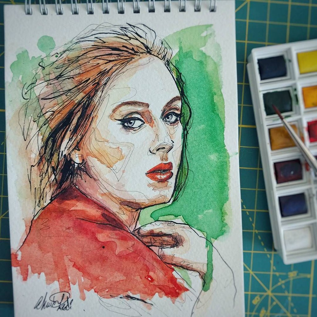 Watercolor colorful portrait draw painting kadisart sketch
