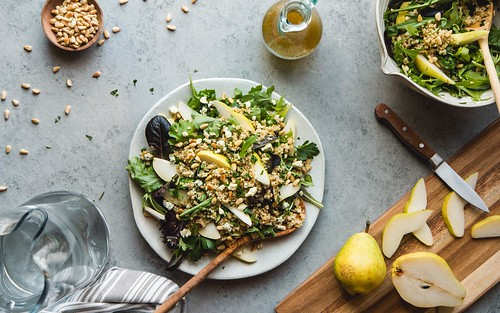 Warm Freekeh Salad With Pears, Gorgonzola, Toasted Pine Nuts, and White Balsamic Vinaigrette | by WillCookForFriends