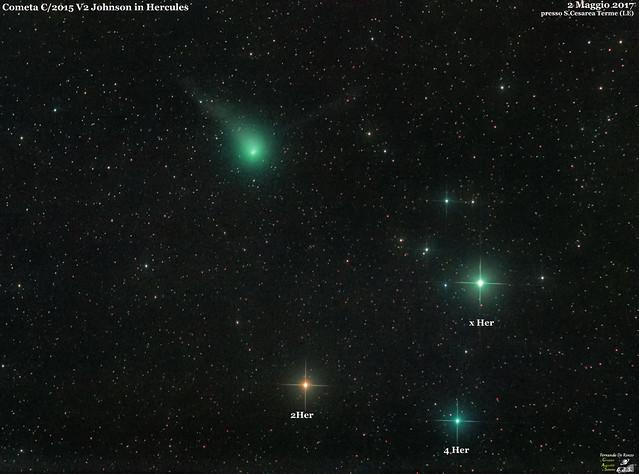 Cometa C2015 V2 Johnson in Hercules cl stelle