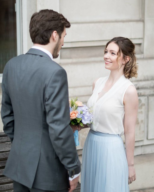 °Way better°  Right after he turned to see her all pretty in her dress, they inspected each other and she readjusted his costume. Here is the look she gave him right after. She is so adorable on that picture! It is these kind of moments that make me like